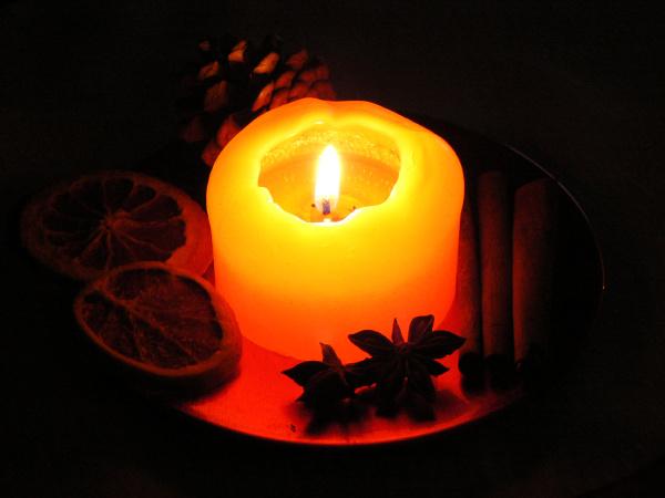 decoración, navideña, con, vela, ardiente - 12949188