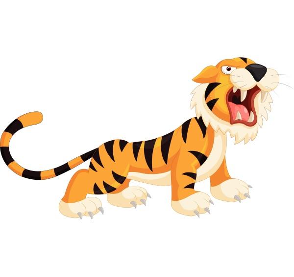 lindo tigre de dibujos animados rugiendo