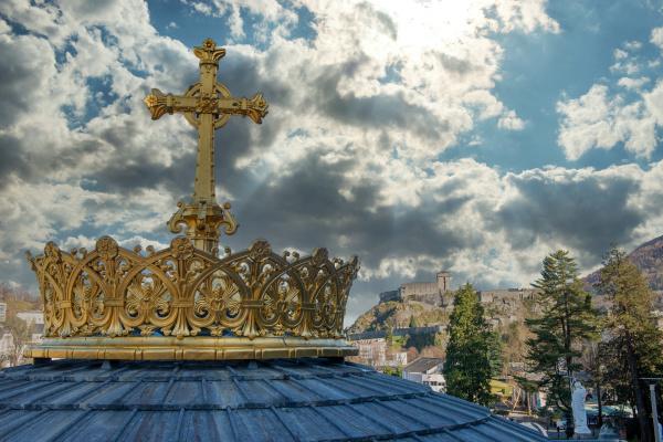 golden, cross, and, crown, in, lourdes - 28257533