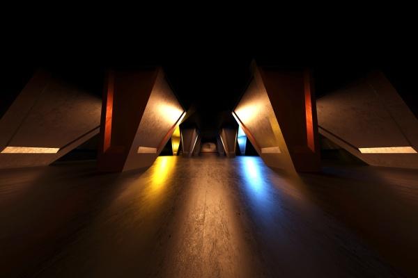 renderizacion tridimensional de pasillo futurista oscuro