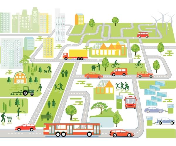 calles con coches peatonales y casas