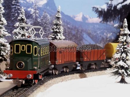 tren vehiculo transporte invierno juguete nieve