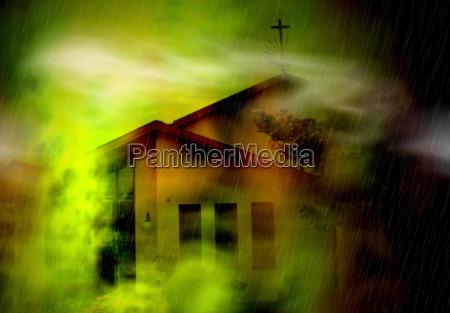 iglesia noche luces niebla fantasia miedo