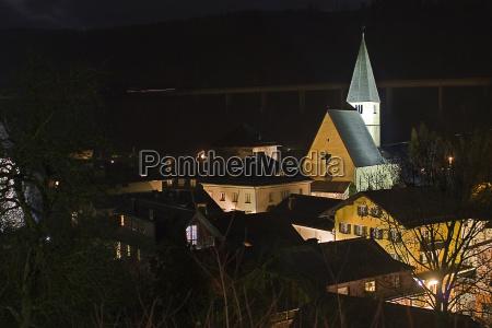 iglesia noche cruz casco antiguo contra
