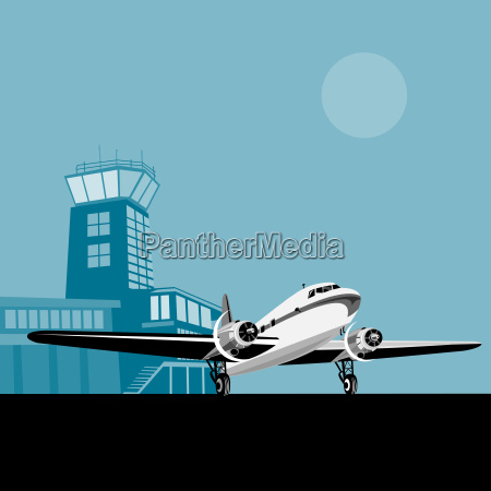 aeroplano del propulsor con la torre