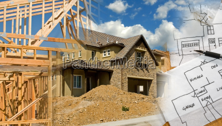 architect and construction montage