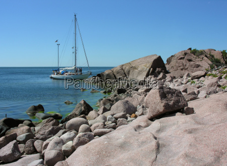 sailing yacht at the island bla