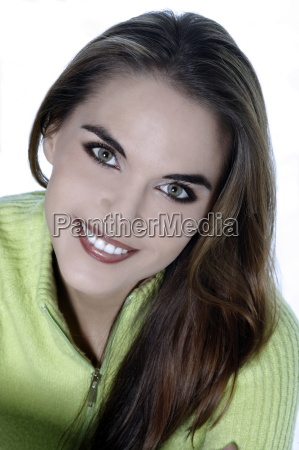 mujer risilla sonrisas retrato amistoso estudio