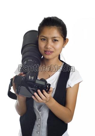 mujer camara ordenado atractivo objetivamente asiatico