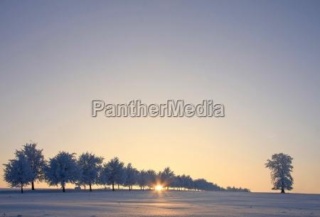invierno puesta del sol luz del