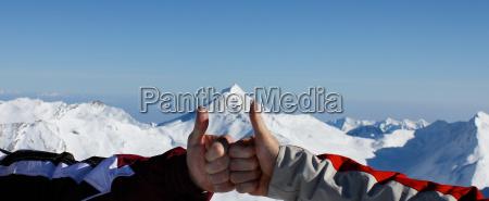 panorama gebirge einigkeit daumen hoch himmel