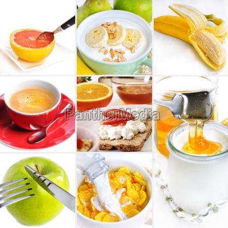 collage de desayuno saludable