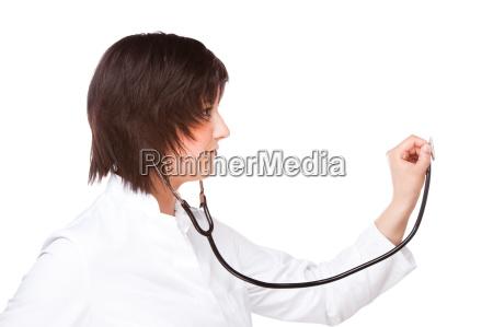 medico delantal mujer estetoscopio investigacion medicina