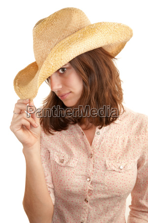 pretty young brunette woman with cowboy