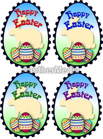 coloridos sellos de pascua feliz pascua