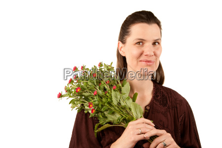 pretty adult woman with flowers