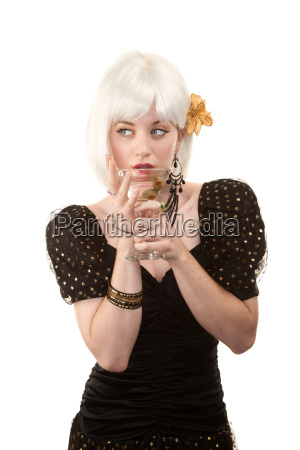 retro woman with white hair in