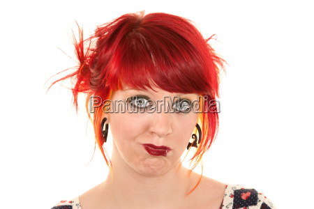 pretty punky girl with brightly dyed