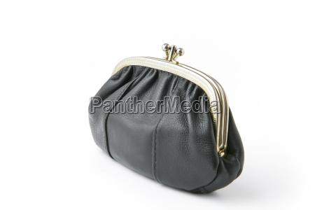 objeto negro cuero horizontalmente horizontal bolso