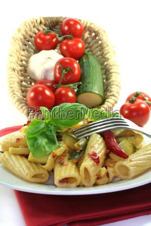 tortiglione with fiery chilli and zuccini
