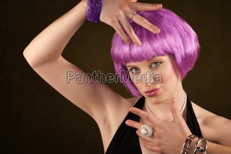 portrait of woman with shiny purple