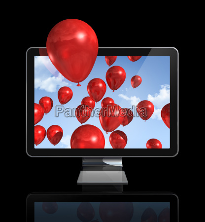 red balloons in a 3d tv