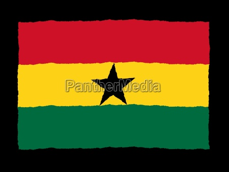 handdrawn flag of ghana