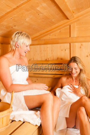 two women in sauna