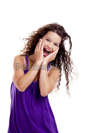 mujer hermoso bueno gracioso emocionado encantado