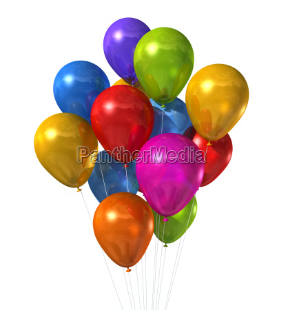 multi colored balloons group isolated on