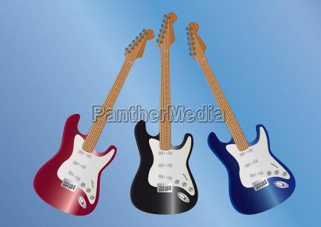 azul musica negro guitarra cadenas rojo