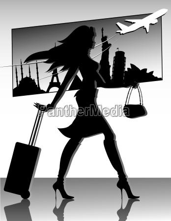 travel girl silhouette
