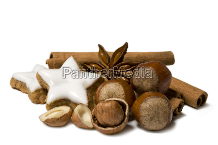 christmas decoration of nuts cinnamon and