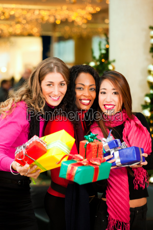 girlfriends while shopping for christmas