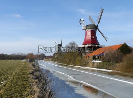 canal ostfriesland molino de viento molino