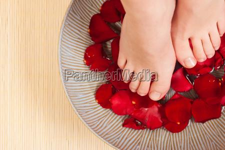 banyo de pies en el spa