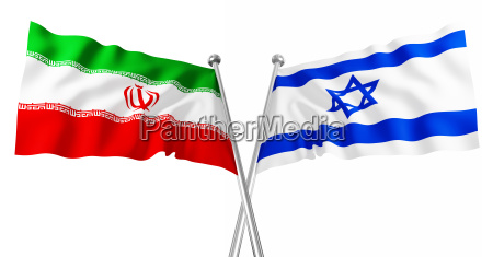 3d flag of israel and iran