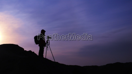 azul montanyas silueta fotografo amanecer temprano