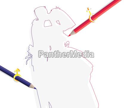 pencils with sex symbols drawing wedding