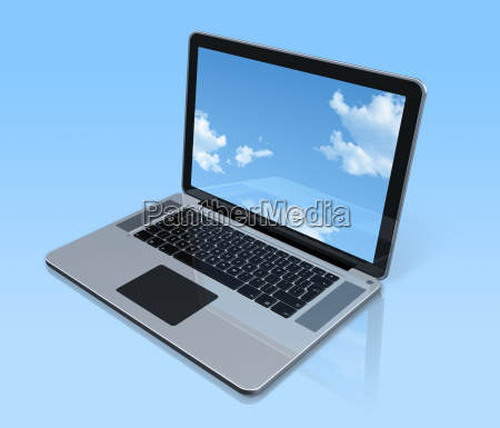 laptop computer isolated on blue with