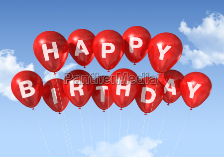 red happy birthday balloons in the