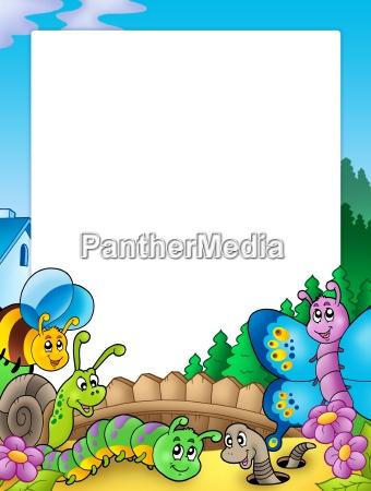 frame with various garden animals