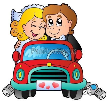 coche con pareja de boda