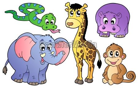 conjunto de animales africanos lindos