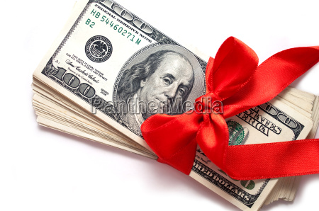 dollars with red ribbon isolated on