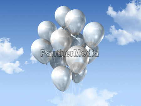 white balloons on a blue sky