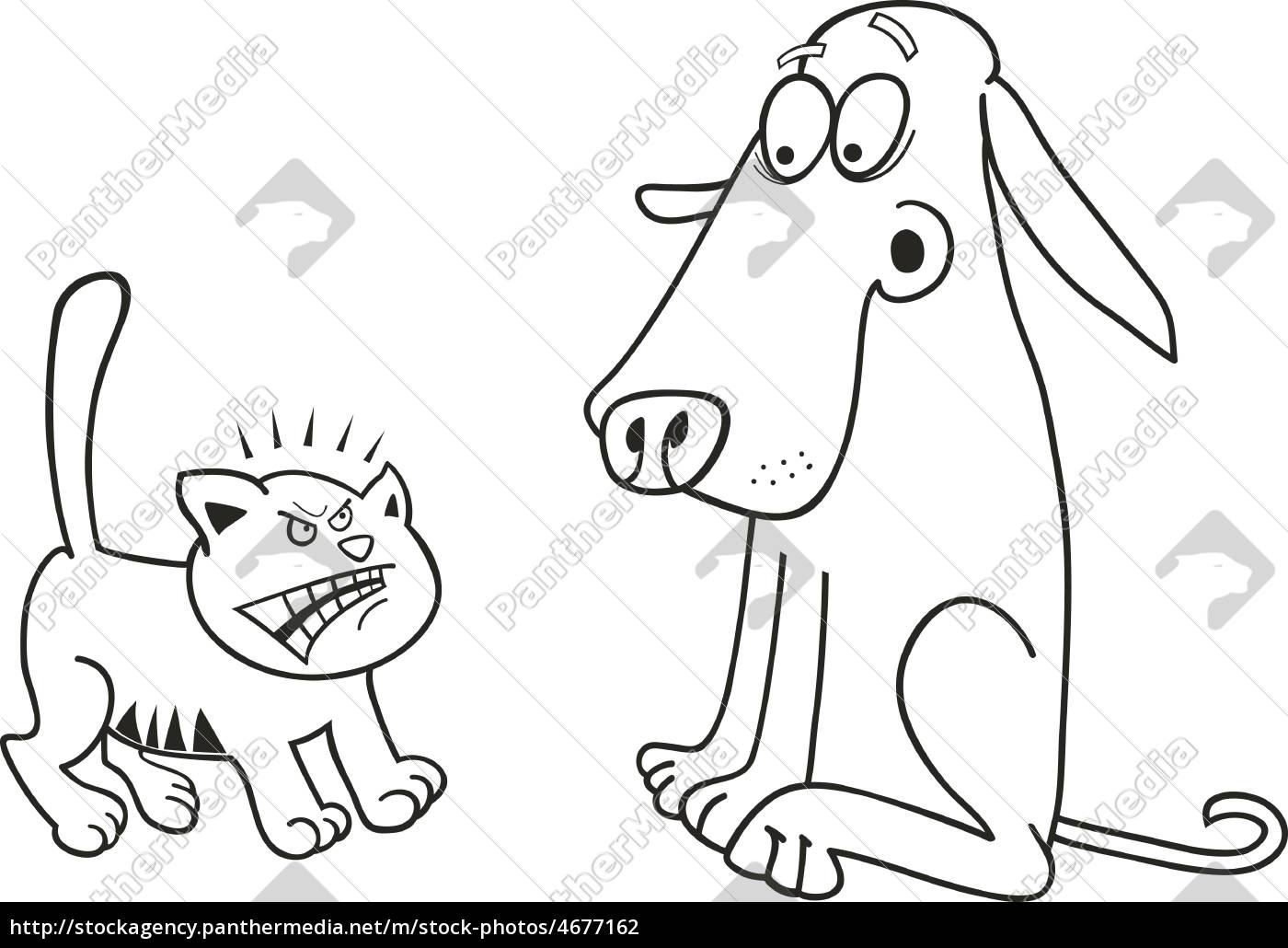 gatito y perro para colorear libro - Stockphoto - #4677162 - Agencia ...