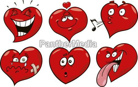 corazones de la historieta fijados
