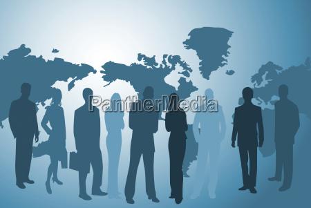 forretningsfolk og verdenskort