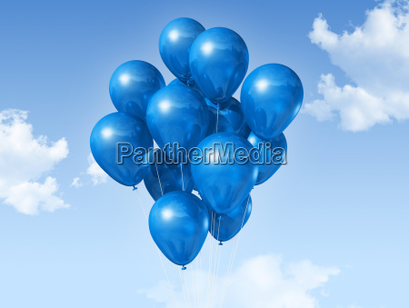 globos, azules, en, un, cielo, azul - 4695360